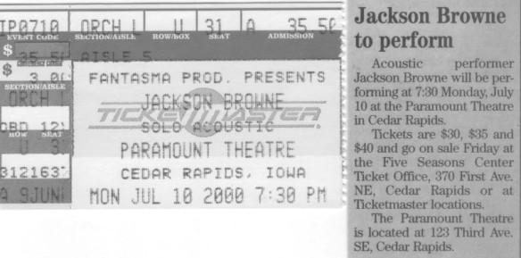 Jackson Browne's Solo Tour